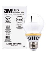 3M Commercial LED Advanced Light A19 RCA19C3, Soft White 3000K, 700 Lumens Dimmable - 10 W - A19 Size - Soft White Light Color - Screw Terminal Base - 36000 Hour - 4940.3°F (2726.8°C) Color Temperature - Dimmable, Shatter Resistant, Mercury-free,