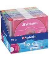 Verbatim CD-R 700MB 52X with Color Branded Surface - 25pk Slim Case, Assorted