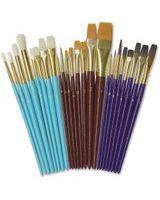 ChenilleKraft Multimedia Paint Brush Set - 24 Brush(es) - Aluminum Ferrule - Natural Wood Handle - Assorted