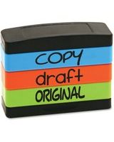 "U.S. Stamp & Sign Copy Message Stamp Set - Message Stamp - ""COPY, DRAFT, ORIGINAL"" - 0.63"" Impression Width x 1.81"" Impression Length - Assorted - 1 Each"