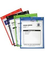 C-Line Products Heavy Duty Super Heavyweight Plus Stitched Shop Ticket Holder, Assorted, 9x12, 20/BX - Vinyl - 20 / Box - Assorted