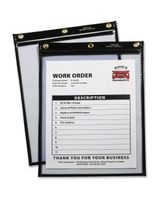 C-Line Products Heavy Duty Super Heavyweight Plus Stitched Shop Ticket Holder, Black, 9x12, 15/BX - Vinyl - 15 / Box - Black