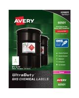 "Avery UltraDuty GHS Chemical Laser Labels - Permanent Adhesive - ""8.50"" Width x 11"" Length - 1 / Sheet - Rectangle - Laser - White - Polyester Film - 50 / Box"