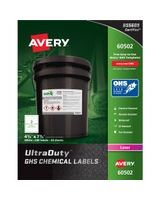 "Avery UltraDuty GHS Chemical Laser Labels - Permanent Adhesive - ""7.75"" Width x 4.75"" Length - 2 / Sheet - Rectangle - Laser - White - Polyester Film - 100 / Box"