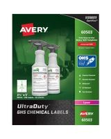 "Avery UltraDuty GHS Chemical Laser Labels - Permanent Adhesive - ""3.50"" Width x 5"" Length - 4 / Sheet - Rectangle - Laser - White - Polyester Film - 200 / Box"