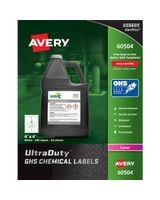 "Avery UltraDuty GHS Chemical Laser Labels - Permanent Adhesive - ""4"" Width x 4"" Length - 4 / Sheet - Square - Laser - White - Polyester Film - 200 / Box"