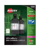 "Avery UltraDuty GHS Chemical Laser Labels - Permanent Adhesive - ""4"" Width x 2"" Length - 10 / Sheet - Rectangle - Laser - White - Polyester Film - 500 / Box"