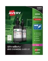 "Avery UltraDuty GHS Chemical Laser Labels - Permanent Adhesive - ""2"" Width x 2"" Length - 12 / Sheet - Square - Laser - White - Polyester Film - 600 / Box"