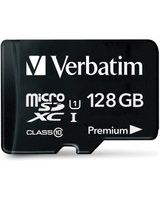 Verbatim 128GB Premium microSDXC Memory Card with Adapter, UHS-I Class 10 - Class 10/UHS-I (U1) - 45 MB/s Read1 Pack