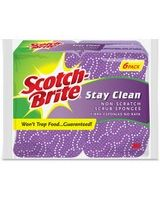 Scotch-Brite Stay Clean Scrub Sponges - 36/Carton - Cellulose, Foam - Purple