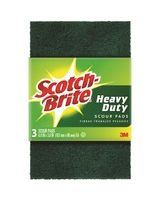 "Scotch-Brite Heavy Duty Scour Pads - 0.9"" Height x 6.3"" Width x 3.9"" Depth - 72/Carton - Green"