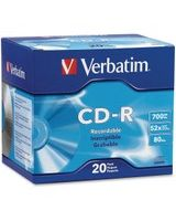 Verbatim CD-R 700MB 52X with Branded Surface - 20pk Slim Case - 1.33 Hour Maximum Recording Time