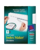 "Avery Index Maker Clear Label Divider with 8-Tabs - 8 Tab(s)/Set - Letter - 8.50"" Width x 11"" Length - White Divider - 5 / Pack"