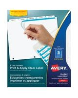 "Avery Index Maker Clear Label Divider with Tabs - 5 Tab(s)/Set - Letter - 8.50"" Width x 11"" Length - White Divider - 25 / Pack"