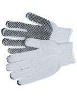 Memphis Glove 9650LM Large Cotton/Polester Natural Pvc Dots/1 Side (1 PR)
