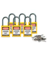 Brady 118930 Compact Sfty Padlock Yellow Pk/6 Ea