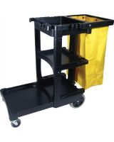 Rubbermaid Commercial 640-6173-88-Bla Black Janitor Cart W/Zippered Yellow Vinyl Bag (1 EA)