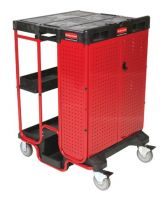 Rubbermaid Commercial 640-9T58 Black 500 Lb Capacity Ladder Cart With Cabinet (Qty: 1)