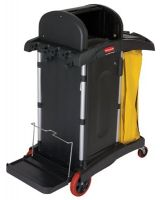 Rubbermaid Commercial 640-9T75 Black High Security Janitor Cart (1 EA)