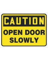 Accuform Signs MABR603VA Sign Ctn Open Door Slowly  7X10 Al (1 EA)