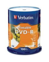 Verbatim DVD-R 4.7GB 16X White Inkjet Printable - 100pk Spindle - DVD-R 16X White Inkjet Printable - 4.70 GB - 100pk Spindle