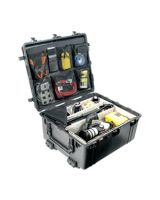 """Pelican 1690 Transport Case with Foam - Internal Dimensions: 30.01"""" Length x 25.02"""" Width x 15"""" Depth - External Dimensions: 33.4"""" Length x 28.4"""" Width x 18.2"""" Depth - 410 lb - Double Throw Latch Closure - Copolymer - Black - For Military"""