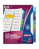 "Avery Double Column Index Divider - 16 Printed Tab(s) - Digit - 1-16 - 16 Tab(s)/Set - 8.50"" Divider Width x 11"" Divider Length - Letter - 3 Hole Punched - Multicolor Tab(s) - 16 / Set"