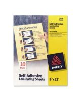"Avery Self-Adhesive Laminating Sheets - Laminating Pouch/Sheet Size: 9"" Width x 12"" Length - Self-adhesive - Clear - 10 / Pack"