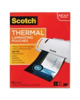 "Scotch Front and Back Thermal Laminating Pouches - Letter Size - Sheet Size Supported: Letter 8.50"" Width x 11"" Length - Laminating Pouch/Sheet Size: 9"" Width x 11.50"" Length x 3 mil Thickness - Glossy - for Photo, Document, Schedule, Presentation, Phone"