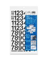 """Chartpak Permanent Adhesive Vinyl Numbers - 44 Numbers - Self-adhesive - 1"""" Height - Black - Vinyl - 1 / Pack"""