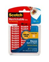 "Scotch Adhesive Mounting Tab - 1"" Width x 1"" Length - Reusable, Photo-safe, Removable - 18 / Pack - Clear"