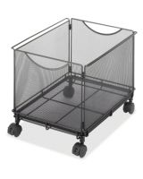 """Safco Onyx 5211BL Mesh Rolling File Cube - 4 Casters - 1.50"""" Caster Size - Steel - 13.5"""" Width x 16.8"""" Depth x 13"""" Height - Black"""