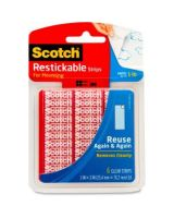 "Scotch Restickable Mounting Tabs - 1"" Width x 3"" Length - Removable, Reusable, Photo-safe, Stain Resistant, Double-sided - 6 / Pack - Clear"
