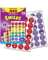 Trend Smiles Stinky Stickers Variety Pack - 432 Smilies - Scented, Acid-free, Non-toxic, Photo-safe - Red, Yellow, Purple, Orange, Green, Blue - 1 Pack