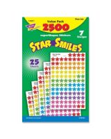 Trend superShapes Star Smiles Stickers - 2500 Star - Self-adhesive - Acid-free, Non-toxic, Photo-safe - Assorted - 2500 / Pack