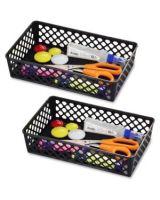 OIC Large Supply Storage Basket - Black - Plastic