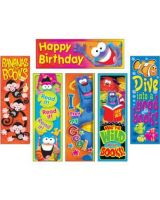 Trend Clever Characters Bookmark Combo Packs - Wild for Books (Furry Friends), I met my Goal! (Furry Friends), Read it! Read it! Read it! (Frog-tastic!), Happy Birthday (Frog-tastic!), Dive into a good book! (Sea Buddies), Bananas for Books (Monkey Misch