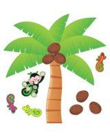 Trend Palm Tree Bulletin Board Set - Nature Theme/Subject - 12 Coconut, 8 Palm, 4 Gecko, 1 Monkey - Multicolor - 1 Set