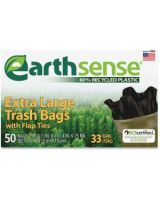 "Webster Earth Sense Trash Bags - Medium Size - 33 gal - 32.50"" Width x 40"" Length x 0.70 mil (18 Micron) Thickness - Low Density - Black - Resin - 50/Box - Garbage"