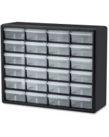 """Akro-Mils 24-Drawer Plastic Storage Cabinet - 24 Drawer(s) - 15.8"""" Height x 6.4"""" Depth - Floor, Wall Mountable - Black, Clear - Plastic, Polymer - 1Each"""