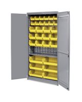 """Akro-Mils AkroBin Storage Cabinet - 12 Compartment(s) - Compartment Size 5"""" x 5.50"""" x 10.88"""" - 78"""" Height x 36"""" Width x 19"""" Depth - Floor - Gray - Steel - 1Each"""