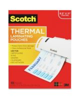 "Scotch Front and Back Thermal Laminating Pouches - Letter Size - Sheet Size Supported: Letter 3 mil Thickness - Laminating Pouch/Sheet Size: 9"" Width x 11.50"" Length x 3 mil Thickness - Glossy - for Document, Photo, Artwork, Certificate, Sign, Card, Sche"