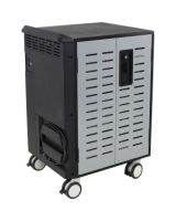 """Ergotron Zip40 Charging and Management Cart - 255 lb Capacity - 4 Casters - 5"""" Caster Size - Steel - 30.3"""" Width x 26.1"""" Depth x 45.4"""" Height - Black, Silver - For 40 Devices"""