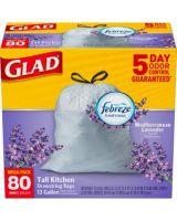 Glad OdorShield 13-gal Drawstring Bags - 13 gal - White - 320/Carton - 80 Per Box - Kitchen, Home Office