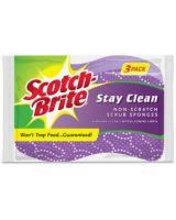 Scotch-Brite Stay Clean Scrub Sponges - 24/Carton - Cellulose, Foam - Purple