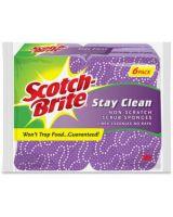 Scotch-Brite Stay Clean Scrub Sponges - 36/Carton - Cellulose, Foam - Purple