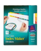 "Avery Index Maker Punched Clear Label Tab Divider - 40 x Divider(s) - Blank Tab(s) - 8 Tab(s)/Set - 8.50"" Divider Width x 11"" Divider Length - Letter - 3 Hole Punched - Multicolor Tab(s) - 5 / Pack"