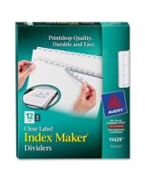 "Avery Index Maker Clear Label Divider - 12 Blank Tab(s) - 12 Tab(s)/Set - 8.50"" Divider Width x 11"" Divider Length - Letter - 3 Hole Punched - White Divider - White Tab(s) - 60 / Pack"