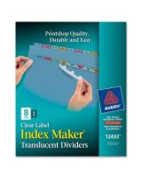 "Avery Index Maker Easy Apply Clear Label Divider - 8 x Divider(s) - Blank Tab(s) - 8 Tab(s)/Set - 8.50"" Divider Width x 11"" Divider Length - Letter - 3 Hole Punched - Multicolor Plastic Divider - Paper Tab(s) - 5 / Pack"
