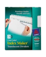 "Avery Index Maker Easy Apply Clear Label Divider - 5 x Divider(s) - Blank Tab(s) - 5 Tab(s)/Set - 8.50"" Divider Width x 11"" Divider Length - Letter - 3 Hole Punched - Plastic Divider - Clear Tab(s) - 5 / Pack"